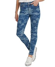 Camo-Print High-Rise Skinny Jeans