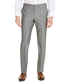 Men's Slim-Fit Stretch Light Gray Tic Suit Pants