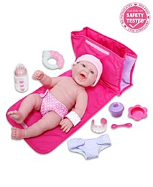 """La Newborn All Vinyl Realistic Smiling Baby Doll 13"""", Deluxe Diaper Changing Bag Gift Set - Perfect for Children 2 Years and Older, Designed by Berenguer"""