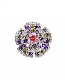 Silver-Tone Multicolor Cluster Ring