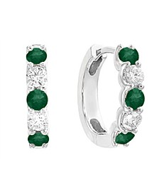 EFFY® Emerald (5/8 ct. t.w.) and Diamond (3/8 ct. t.w.) Hoop Earrings in 14k White Gold