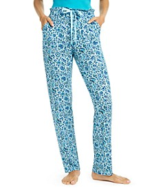 Allegra Printed Paper-Bag-Waist Pajama Pants