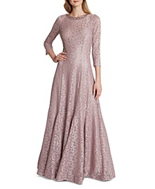 Three-Quarter-Sleeve Shimmer Lace Gown