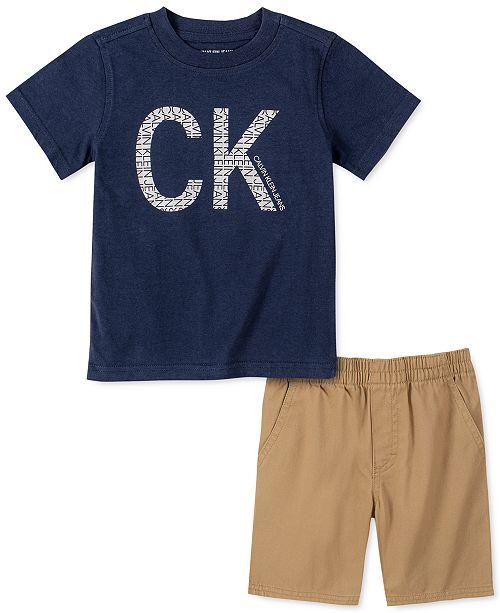 Calvin Klein Little Boys 2-Pc. Logo T-Shirt & Twill Shorts Set