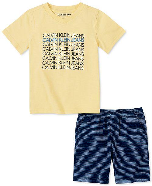 Calvin Klein Toddler Boys 2-Pc. Logo V-Neck T-Shirt & Yarn-Dyed Stripe Jacquard Shorts Set