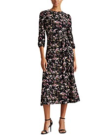 Petite Floral Balloon-Sleeve Dress