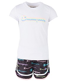 Little Girls 2-Pc. Multi-Color Shadow Script Logo T-Shirt & Short Set
