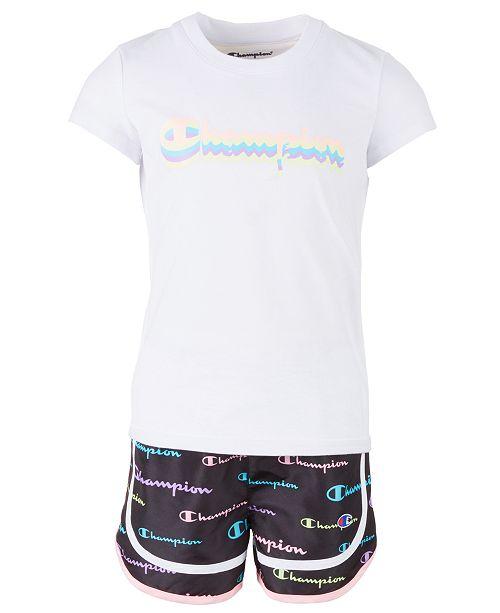 Champion Little Girls 2-Pc. Multi-Color Shadow Script Logo T-Shirt & Short Set