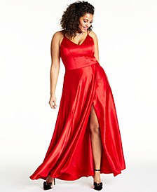 Trendy Plus Size Slit Satin Gown