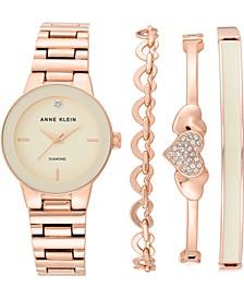 Women's Diamond-Accent Rose Gold-Tone Bracelet Watch 30mm Gift Set