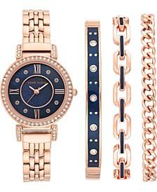 Women's Navy & Rose Gold-Tone Bracelet Watch 30mm & Bracelet Set