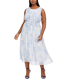 Plus Size Paisley-Print Sleeveless Dress