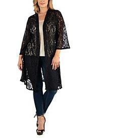24Seven Comfort Apparel Sheer Black Lace Open Front Plus Size Cardigan