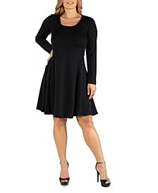 Simple Long Sleeve Knee Length Flared Plus Size Dress