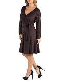 Womens Knee Length Long Sleeve Plus Size Wrap Dress