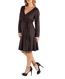 24Seven Comfort Apparel Womens Knee Length Long Sleeve Plus Size Wrap Dress