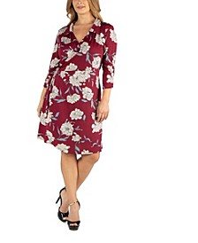 Collared Burgundy Floral Print Plus Size Wrap Dress