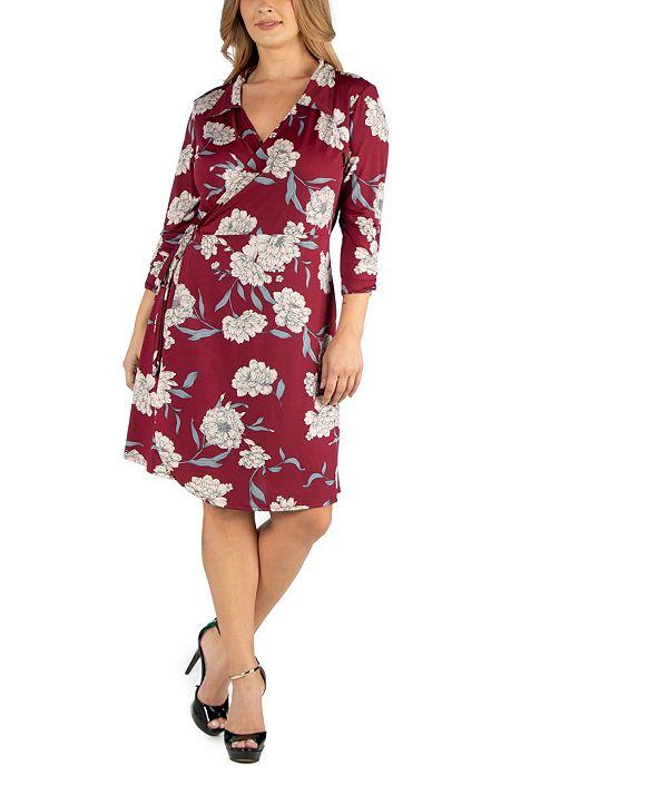 24seven Comfort Apparel Collared Burgundy Floral Print Plus Size Wrap Dress