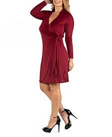 Knee Length Long Sleeve Plus Size Wrap Dress
