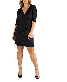 Womens Elbow Sleeve Little Black Plus Size Wrap Dress