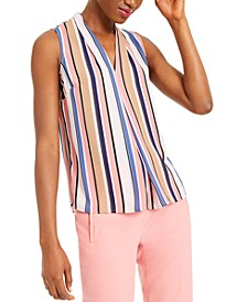 Striped Sleeveless V-Neck Blouse, Created for Macy's