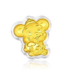 Rat Charm Coin in 24K Gold