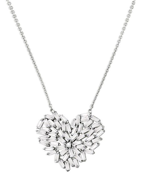 ZAXIE by Stefanie Taylor Cubic Zirconia Curved Heart Pendant Necklace