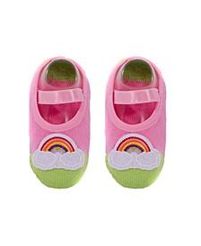 Baby Girls Anti-Slip Cotton Socks with Rainbow Applique