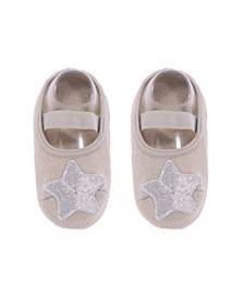 Baby Boys and Girls Anti-Slip Cotton Socks with Silver Tone Star Applique