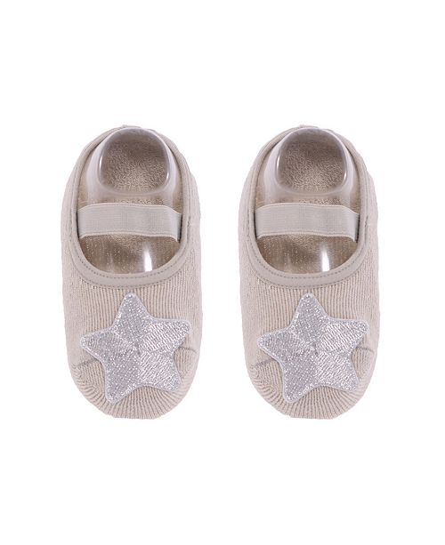 NWALKS Baby Boys and Girls Anti-Slip Cotton Socks with Silver Tone Star Applique