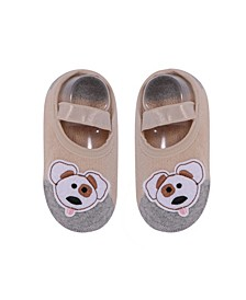 Baby Boys and Girls Anti-Slip Cotton Socks with Dog Applique