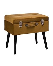 "19.7"" L Velvet Upholstered Storage Stool with Black Solid Rubberwood Legs"