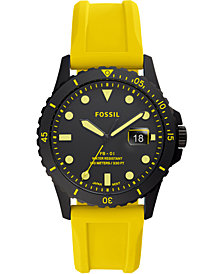 Fossil Men's FB-01 Yellow Silicone Strap Watch 42mm