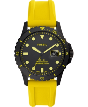 Fossil Jewelries MEN'S FB-01 YELLOW SILICONE STRAP WATCH 42MM