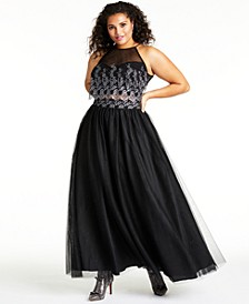 Trendy Plus Size Glitter & Mesh Gown