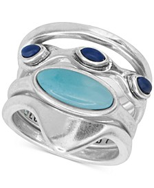 Silver-Tone 4-Pc. Set Stone Stack Rings