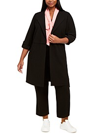 Plus Size Textured Roll-Sleeve Jacket, Tie-Neck Blouse & Ankle Dress Pants , Created for Macy's