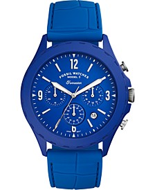 Men's Chronograph Forrester Blue Silicone Strap Watch 46mm