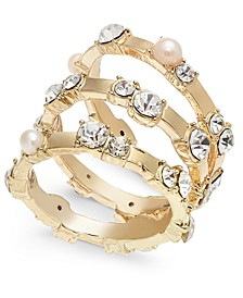 INC Gold-Tone 3-Pc Set Imitation Pearl & Crystal Stacking Rings, Created for Macy's