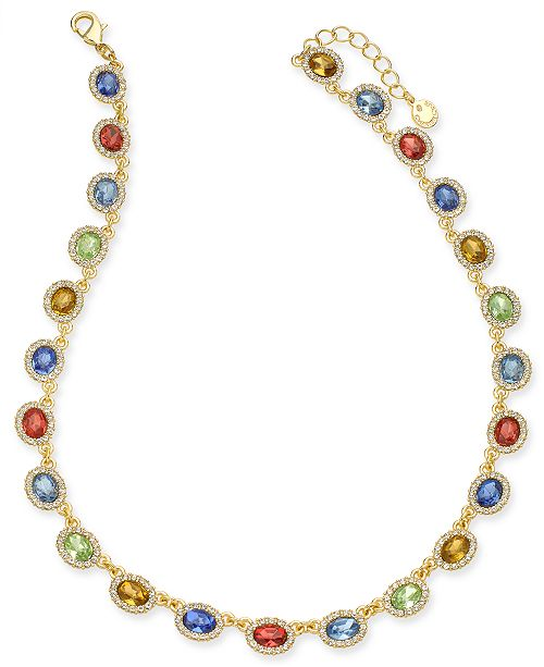 """Charter Club Gold-Tone Multicolor Stone & Halo Statement Necklace, 17"""" + 2"""" extender, Created For Macy's"""
