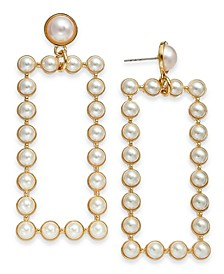 INC Gold-Tone Imitation Pearl Rectangle Drop Earrings, Created for Macy's