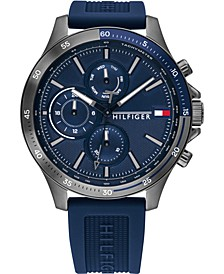 Men's Chronograph Navy Silicone Strap Watch 46mm
