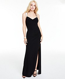Juniors' Rhinestone-Strap Draped-Back Gown