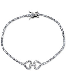 Cubic Zirconia Double Heart Tennis Bracelet in Sterling Silver, Created for Macy's