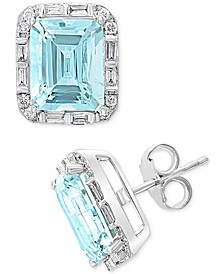 EFFY® Aquamarine (6-3/8 ct. t.w.) & Diamond (3/8 ct. t.w.) Stud Earrings in 14k White Gold
