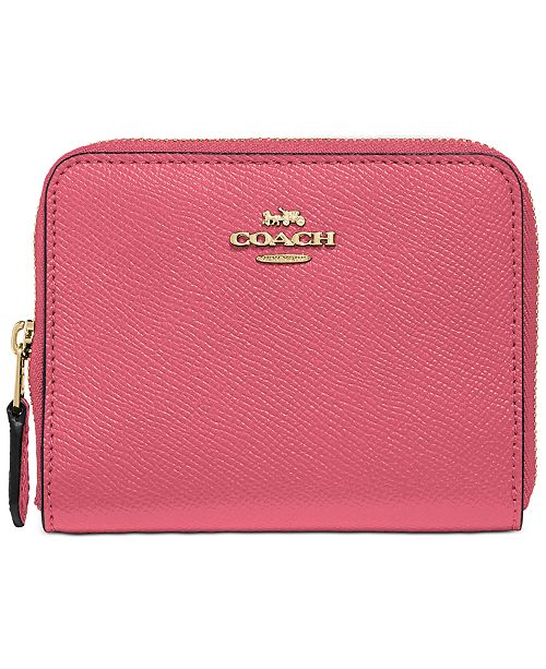 COACH Crossgrain Leather Small Zip Around Wallet