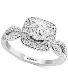 EFFY® Diamond Halo Engagement Ring (1-1/10 ct. t.w.) in 14k White Gold