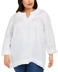 Plus Size Linen Frayed-Trim Top, Created for Macy's