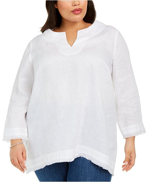 Charter Club Plus Size Linen Frayed-Trim Top, Created for Macy's