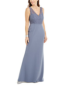 Adrianna Papell Illusion Lace Gown